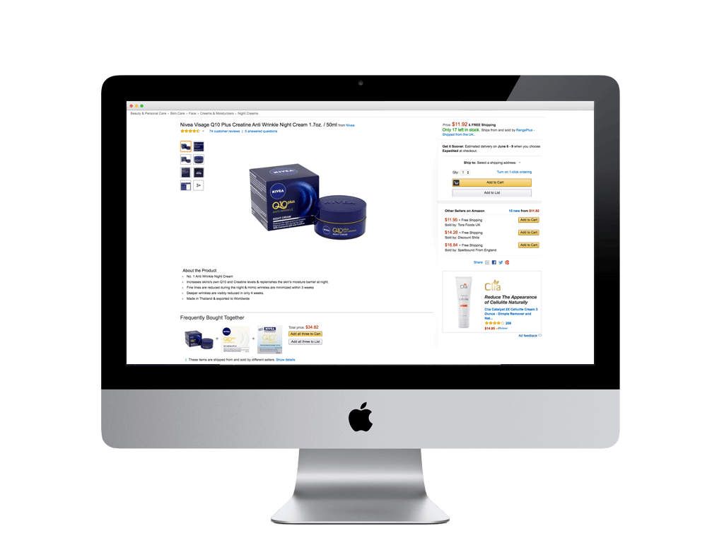 An example of a product page powered with product content via the Syndy API